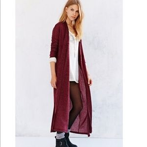 UO SILENCE & NOISE MAXI CARIGAN DUSTER XS RED